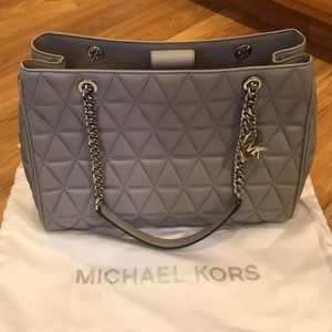 New! Medium Grey Tufted Michael Kors Bag